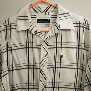 RocaWear Men Large Black White Dress Shirt Vintage
